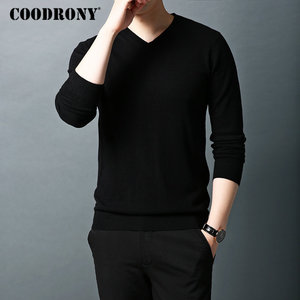 Image 3 - COODRONY Brand Sweater Men Pure Merino Wool Mens Sweaters Autumn Winter Thick Warm Cashmere Pullover Men V Neck Pull Homme 93014