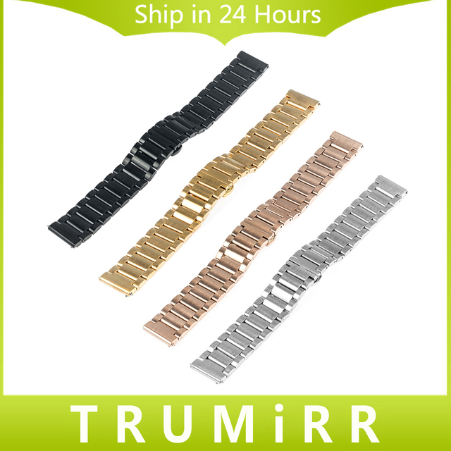 Quick Release Stainless Steel Watchband 16mm 18mm 20mm 22mm Universal Band Butterfly Buckle Bracelet Replacement Strap 4 Colors