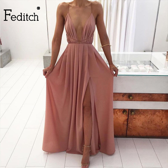 Feditch New Fashion 4 Color Deep V Neck Maxi Dress Women Sexy Backless  Evening Party Dresses a47fc28d7