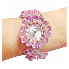 2019 Time-limited Summer New Jewelry Pink Crystal Clover Women's Bracelet Watches Wholesale Fashion Decoration
