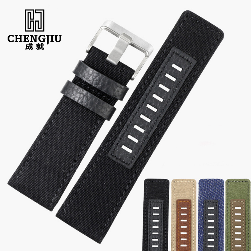 online get cheap canvas watch band aliexpress com alibaba group canvas men s watchband for diesel watches 26mm silver buckle watch strap for male casual canvas watch