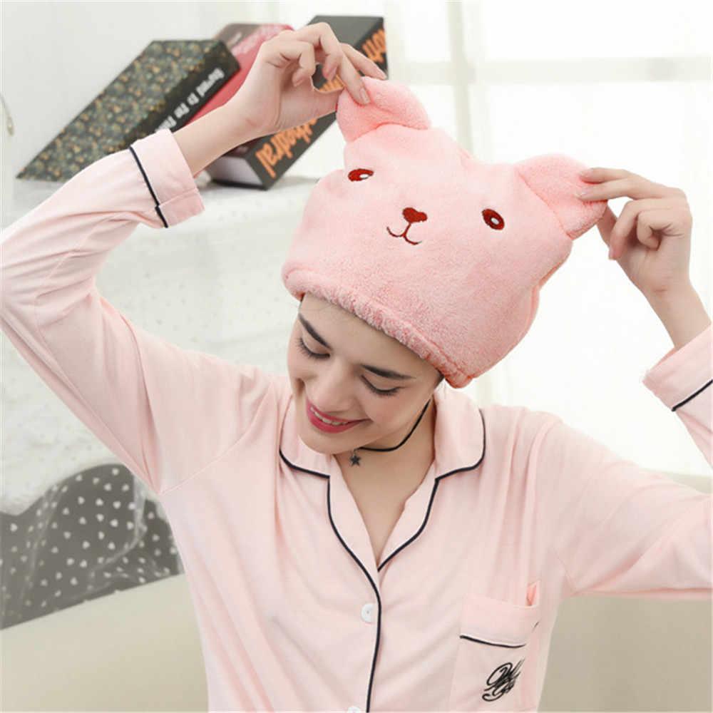Microfiber Tóc Turban Một Cách Nhanh Chóng Khô Tóc Hat Bọc Khăn Tắm Cap Gấu nắp tóc khô thấm dày tóc nhanh khô