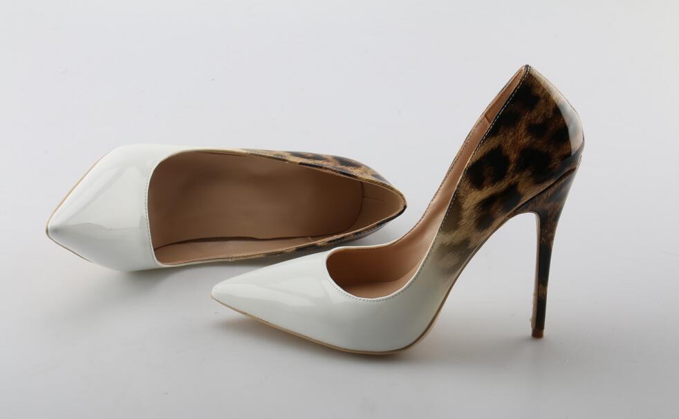 on Sexy Slip Femmes Léopard Pompes Robe Talons Verni Pointu Mariage Aiguilles En Cuir Haute De Clair Bout Gradient Chaussures QrdBeWoCx