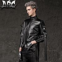 Autumn Teenage Punk Slim Motorcycle Punk Rock Men Latest Coat Designs Clothes Men Leather Jacket For