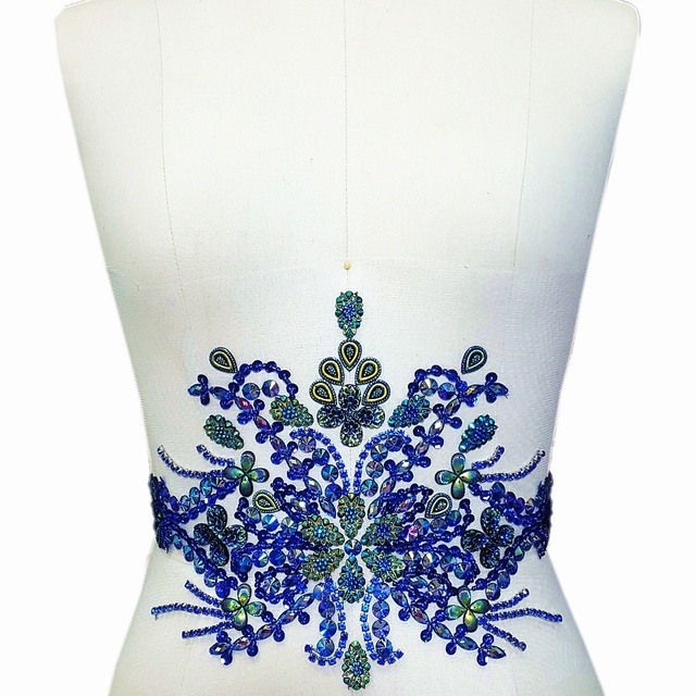 BOutique Handmade Beaded Diy Blue Crystal Sew on Rhinestone Applique Patches  For Waist Belt decoration Wedding 3192dcd7edf5