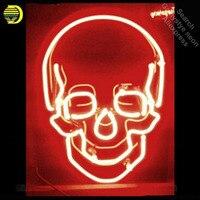 Kafatası Neon Işareti Kırmızı renk neon ampul Burcu Gerçek Cam Tüp neon ışıkları Rekreasyon kulübü Pub Ikonik Işareti Reklam kişiselleştirilmiş