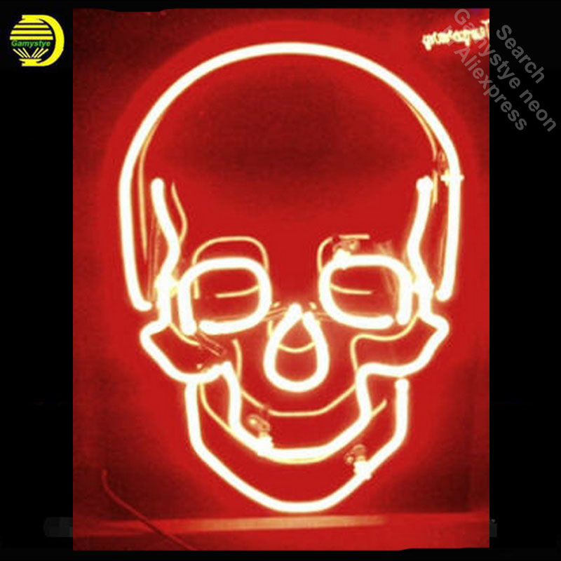 Skull Neon Sign Red color neon bulb Sign Real Glass Tube neon lights Recreation club Pub Iconic Sign Advertise personalized wild at heart neon sign advertise custom logo neon bulb beer glass tube handcrafted neon glass tubes recreation room lamps 17x14
