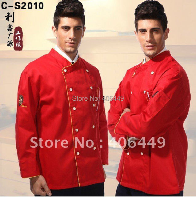 New arrival Autumn and winter man wear red  chef uniform Hotel Restaurant cook  long-sleeve work jacket   D32