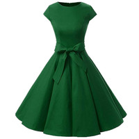 Green O Neck Womens Dress Vintage 1950S Cap Sleeve Summer Rockabilly Swing Cocktail Party Dress