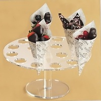 16 Hole Acrylic Clear Circle Cupcake Ice Cream Cone Display Holder Stand
