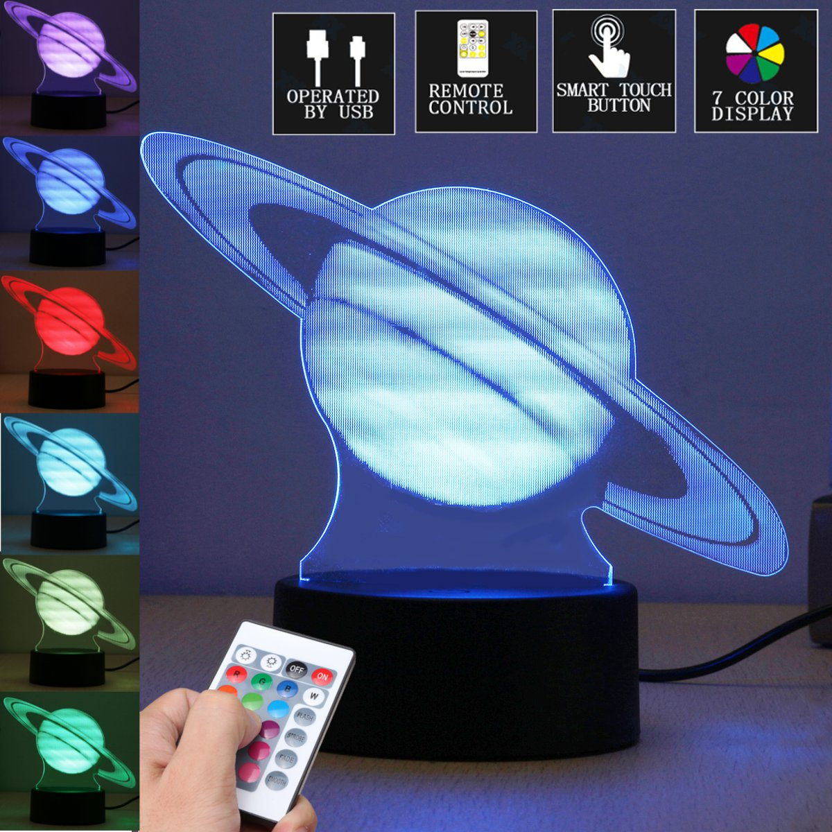3D Illusion Acrylic Visual Planet LED Table Calming Night Light 7 Color Changing Touchs Switch Novelty Lamp Christmas Home Decor 3d visual shark 7 color changing touch led table night light