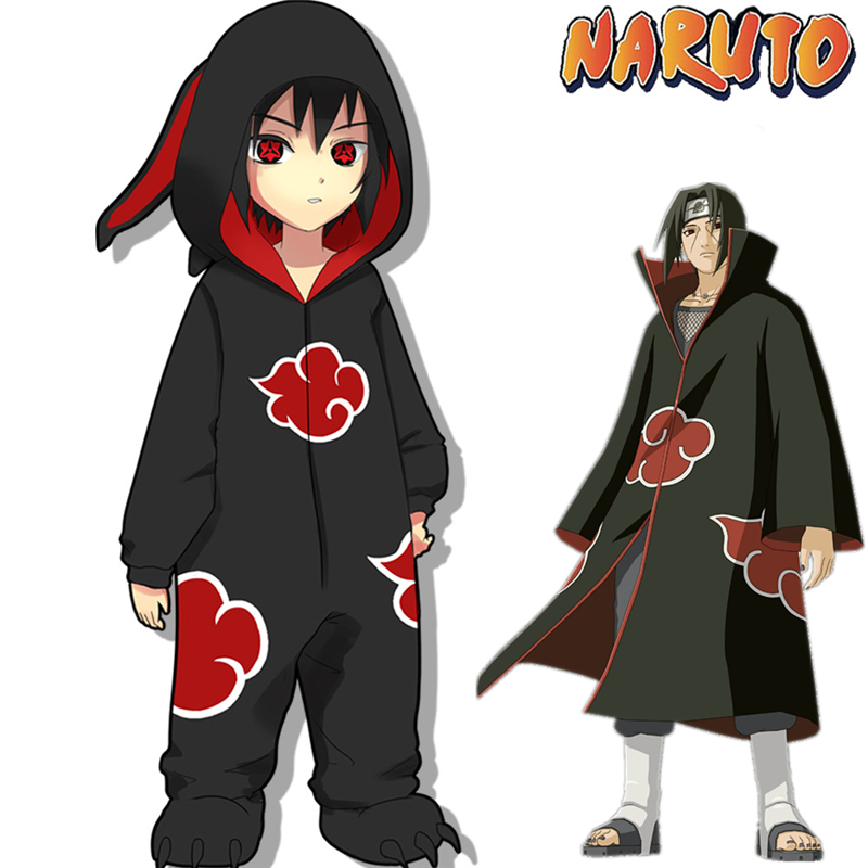 Limited Editio Naruto Akatsuki Uchiha Itachi Cosplay Costumes Women Man Pajamas Bathrobe Adult Kids Warm Thicken Jumpsuits Suits