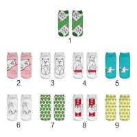Women Couples Summer Short Cotton Boat Socks Harajuku Cute Colorful Cartoon Middle Finger Meow Cat Alien Printed Hosiery Hip Hop