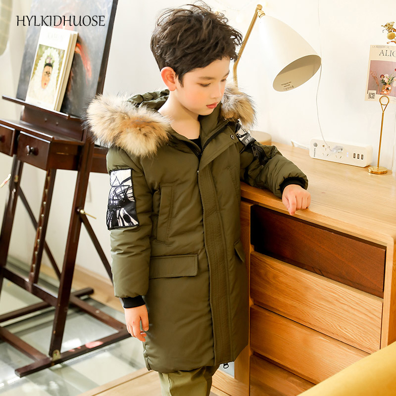 HYLKIDHUOSE 2017 Winter Boys Down Coats Long Style Children Jackets Real Fur Outdoor Warm Thick Kids Outerwear Widproof Parkas 2017 new baby girls boys winter coats jacket children down outerwear warm thick outdoor kids fur collar snow proof coat parkas