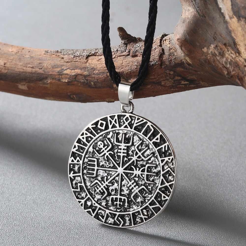 CHENGXUN Guidepost kompas naszyjnik talizman Viking starszy Futhark wisiorek Valknut Pagan Amulet Vegvisir skandynawski Norse prezent