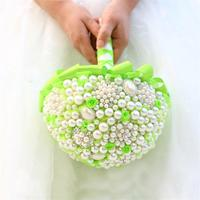 Newest green pearl artificial wedding bouquet crystal bridesmaid bouquets for wedding