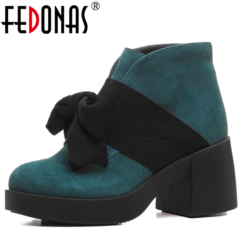FEDONAS Fashion Women Thick High Heeled Ankle Boots Cute Bowtie Platforms Autumn Winter Genuine Leather Shoes Woman Ladies BootsFEDONAS Fashion Women Thick High Heeled Ankle Boots Cute Bowtie Platforms Autumn Winter Genuine Leather Shoes Woman Ladies Boots