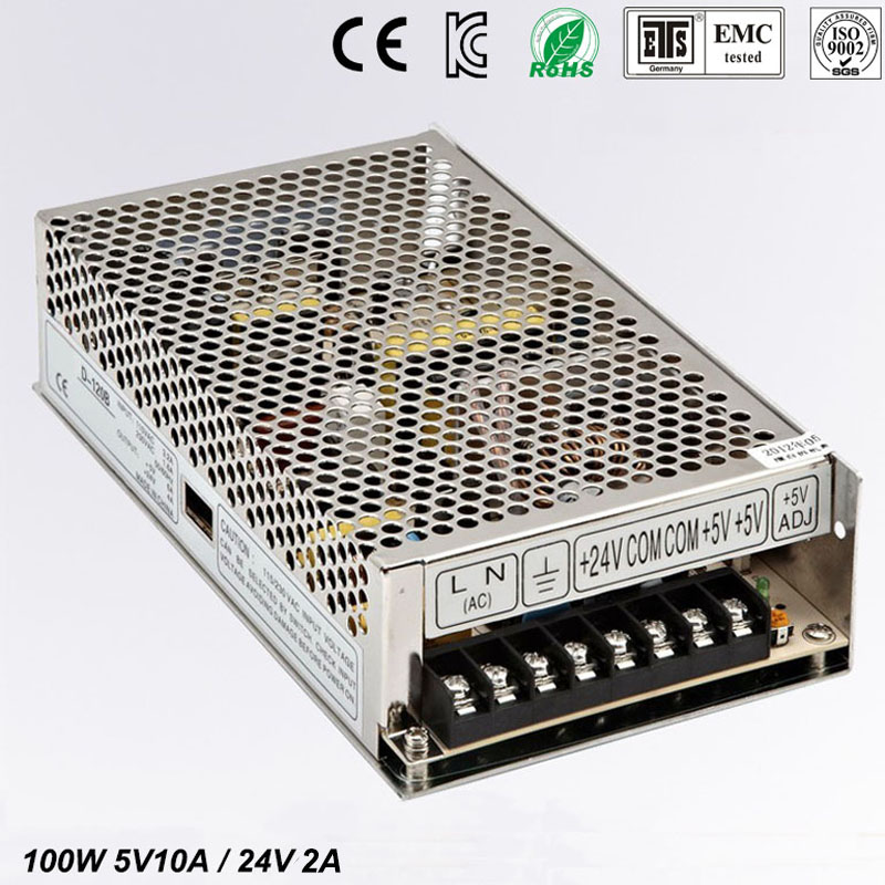 Best quality 5V 10A 24V 2A 100W Switching Power Supply Driver for LED Strip AC 100-240V Input to DC 5V 24V free shipping 201w led switching power supply 85 265ac input 40a 16 5a 8 3a 4 2a for led strip light power suply 5v 12v output