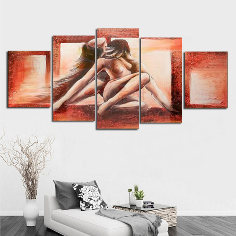 Hand painted figure oil painting on canvas abstract style wall art for home decoration lover 39 s gift ready to hang in Painting amp Calligraphy from Home amp Garden