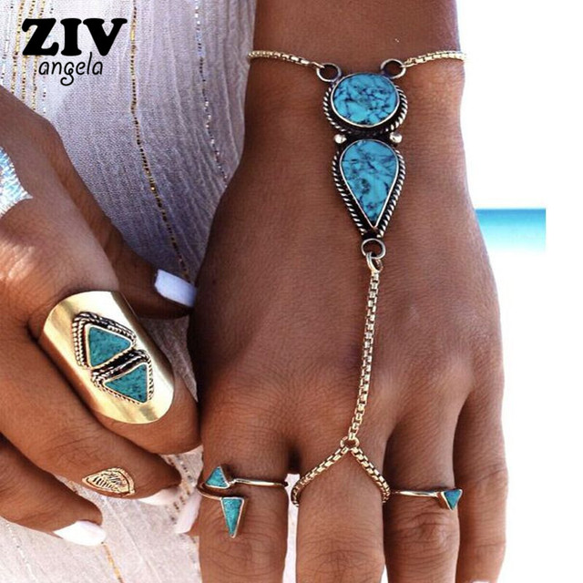 70a45492b ZIVangela New Fashion Sexy bohemian style Green Stone Vintage Silver  Bracelet Chain Lots Bracelets women jewelry