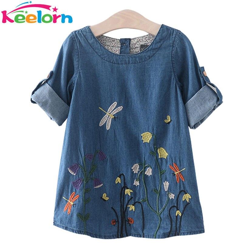 Keelorn Mädchen Denim Kleid Kinder Kleidung Casual Style Mädchen Kleidung Schmetterling Stickerei Kleid Kinder Kleidung
