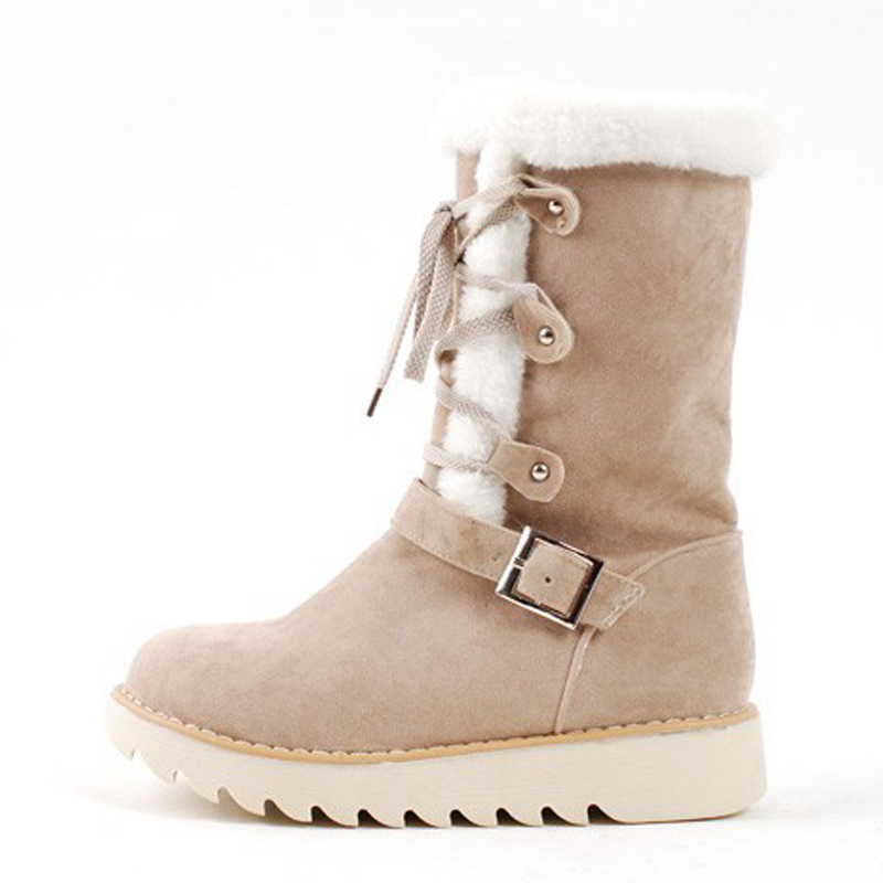 Winter new style high quality mid-calf boots sweet cute girls flat snow flat boots solid round toe non slip women casual shoes от Aliexpress INT