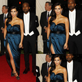 Free Shipping Kim Kardashian Met Gala Tapete Pleat Satin Celebrity Dresses 2016 vestido de festa longo