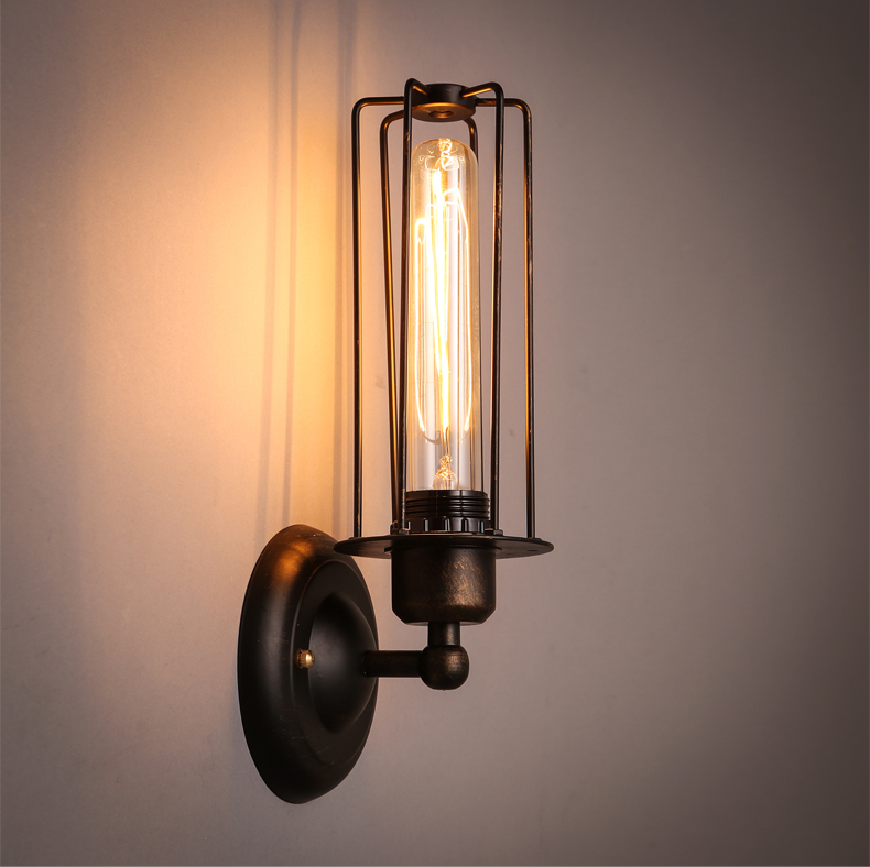 Creative personality retro wall new bar restaurant coffee director Di iron wall lamp wall lamp corridor warehouse GY237 personality creative rope restaurant wall light simple pastoral iron retro wall lamp double section turner lighting