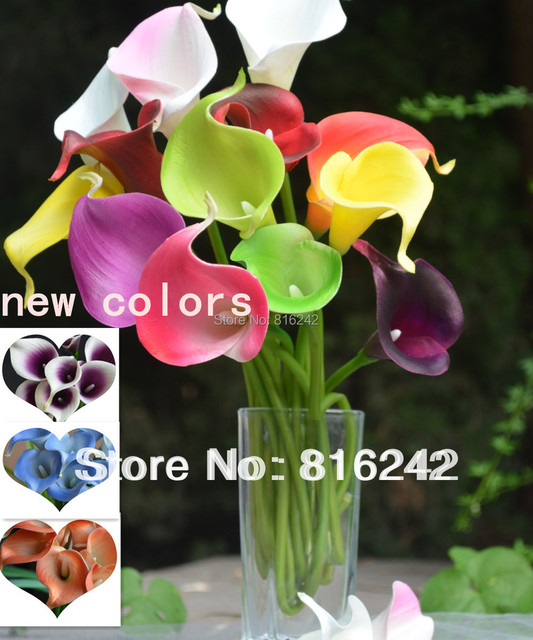 Calla Lilies Natural Real Touch Flowers Picasso Purple White Calla Lily For Wedding Bouquets Centerpieces