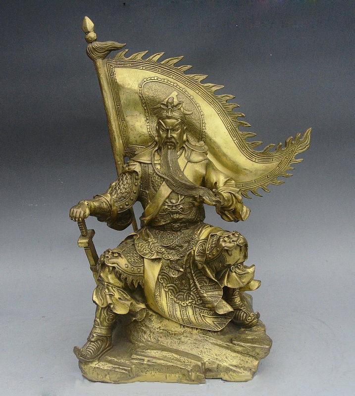 11 Famous Chinese Brass Dragon Robe Guan Gong Guan Yu God Warrior Seat Statue