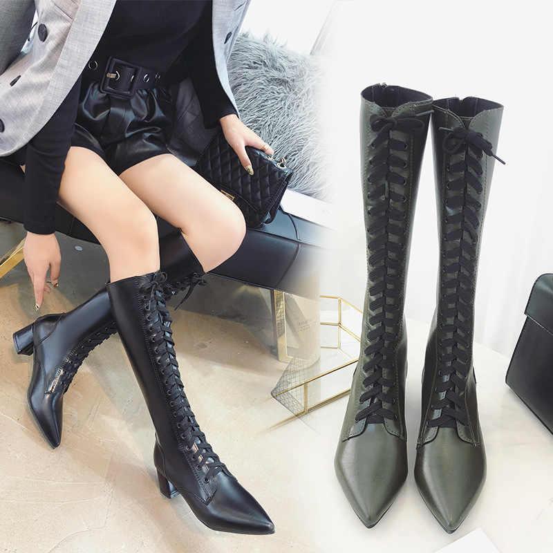 Bout pointu à lacets bottes hautes au genou femmes croisées martin chaussons d'équitation femme talon chunky long chelsea botas mujer 2018 s458