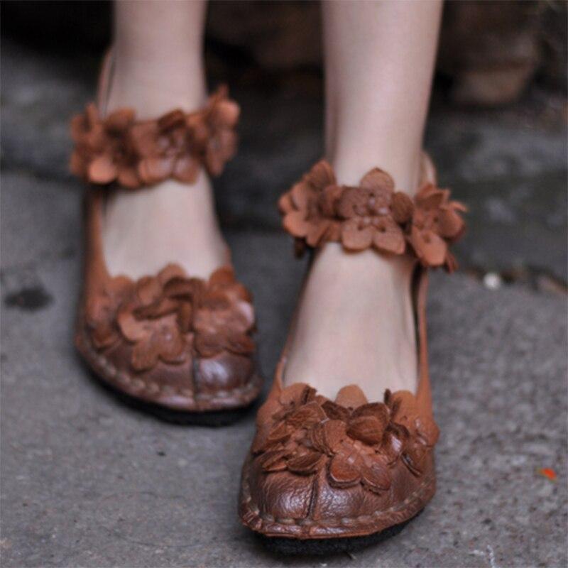 Artmu Original Flowers Women Shoes Handmade Genuine Leather Low Heel Dress Shoes Soft Soles Casual Flats