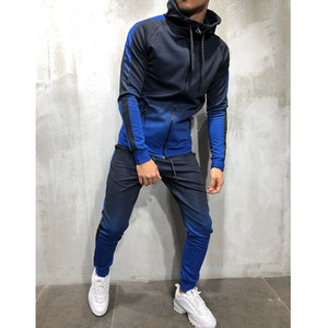 Image 4 - 2pcs men sportswear tracksuit zip up hoodies sweatshirt+pant running jogging leisure fitness gym workout athletic set sport suit