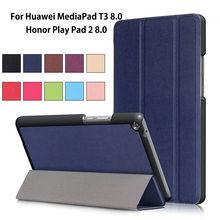 "Ultra Delgado Caso de la Cubierta Para Huawei MediaPad T3 8.0 KOB-L09 KOB-W09 Funda Tablet PU Funda Para Honor Juego Pad 2 8.0 ""+ Film + Pluma"