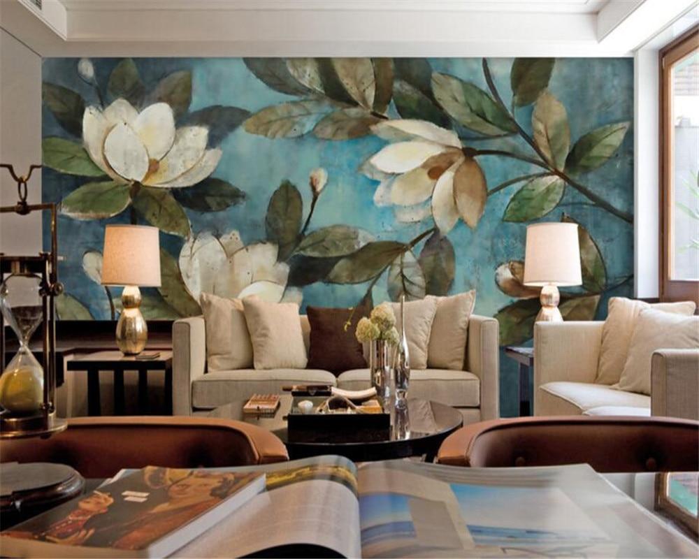 Beibehang Gran Mural De Aceite Pintura Floral Gardenia Azul Fondo