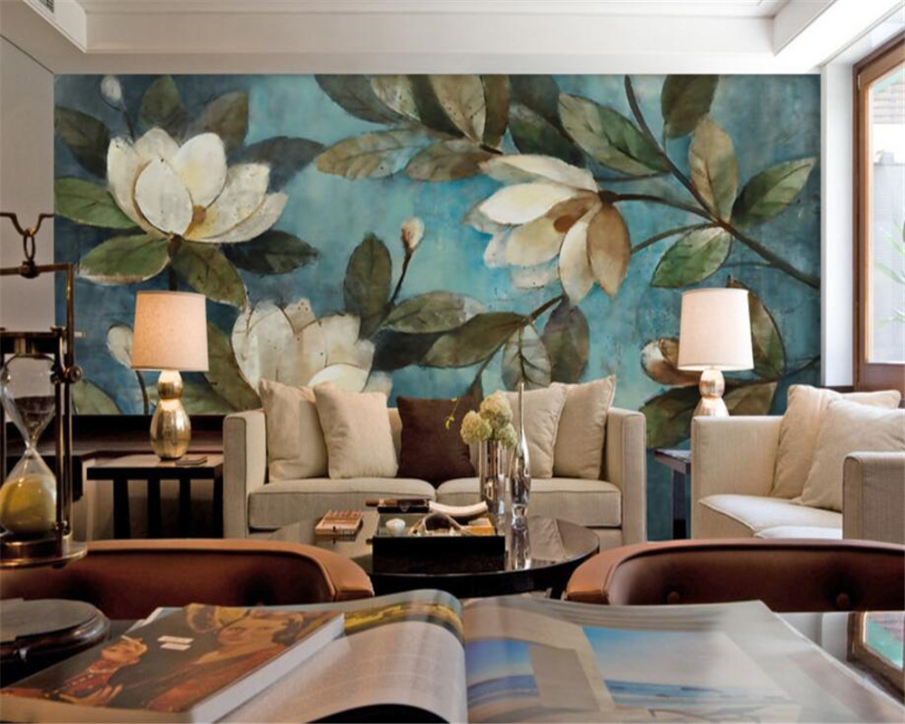 beibehang Large mural oil painting floral blue gardenia wallpaper background wall wallpaper for walls 3 d papier peint mural 3d