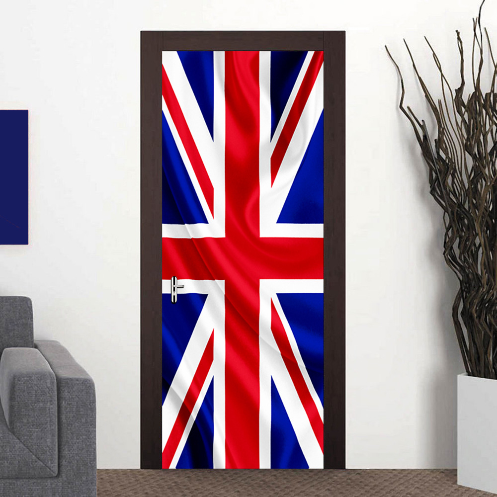 Us 1674 33 Off3d Door Sticker Mural Art Wallpaper Uk Flag Plane Removable Room Diy Wall Poster Stickers Home Gate Decor Paste Limited In Wall