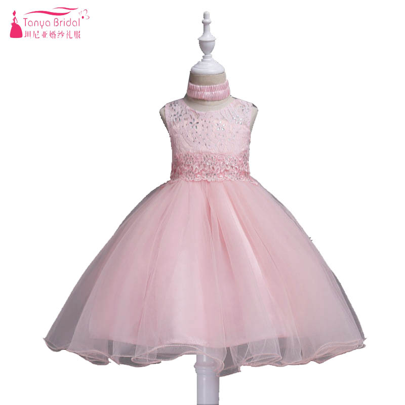 Blush Pink Princess   Flower     Girls     Dresses   Lace Crystal Ball Gown Ribbons Sash First Cummunion Gowns robe mariage fille ZF018