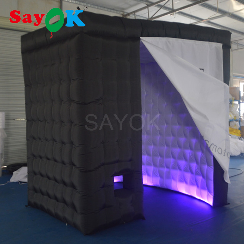 Sayok 2.4M 2 Door Cambered Inflatable Photo Booth Frame with LED Light Black Outside and White Inside for Wedding Party Rental ...