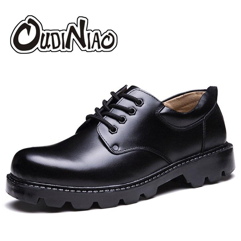 Zapatos para hombre Zapatos Tallas grandes casuales británico genuino de la vaca zapatos de cuero de los hombres calzado oficial del ejército clásico zapatos de los hombres de piel de invierno negro