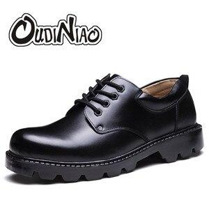 Image 1 - メンズ靴大サイズカジュアル英国の本革男性靴役員牛leatrher靴男性冬暖かい毛皮豪華な黒