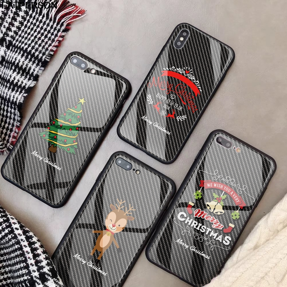 Customized pattern Phone Case for iPhone 7 X 7P XS MAX Christmas DIY Tempered Glass Phone Cover for iPhone XR 6s 6 8 Plus capa чехлы марвел