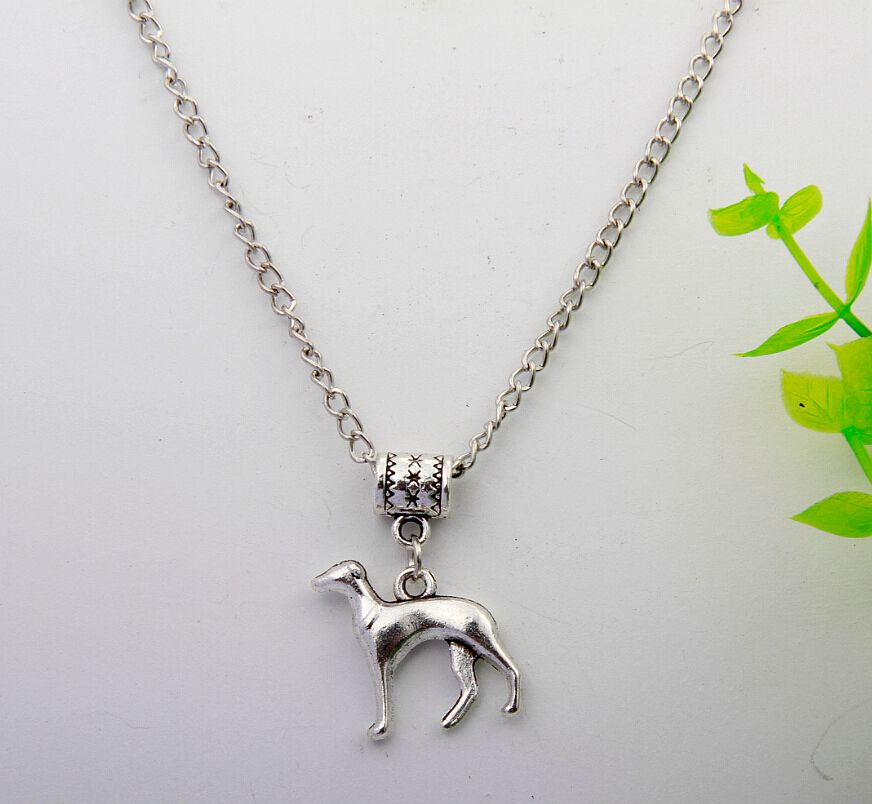 Hot Ancient Silver Greyhound Pendant Necklace Bff Charms Gift Fashion Vintage Jewelry Alloy Charm 10Pcs DIY For Women&Men H084