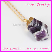 1PC New Style Purple Gem Stone Crystal Pendant Jewelry Free Form Pendant 22K Gold Plated Snake