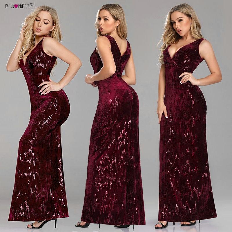Burgundy   Prom     Dresses   Long Elegant A Line V Neck Backless Sequined Formal Party Gowns Ever Pretty EP07506BD Vestidos De Fiesta