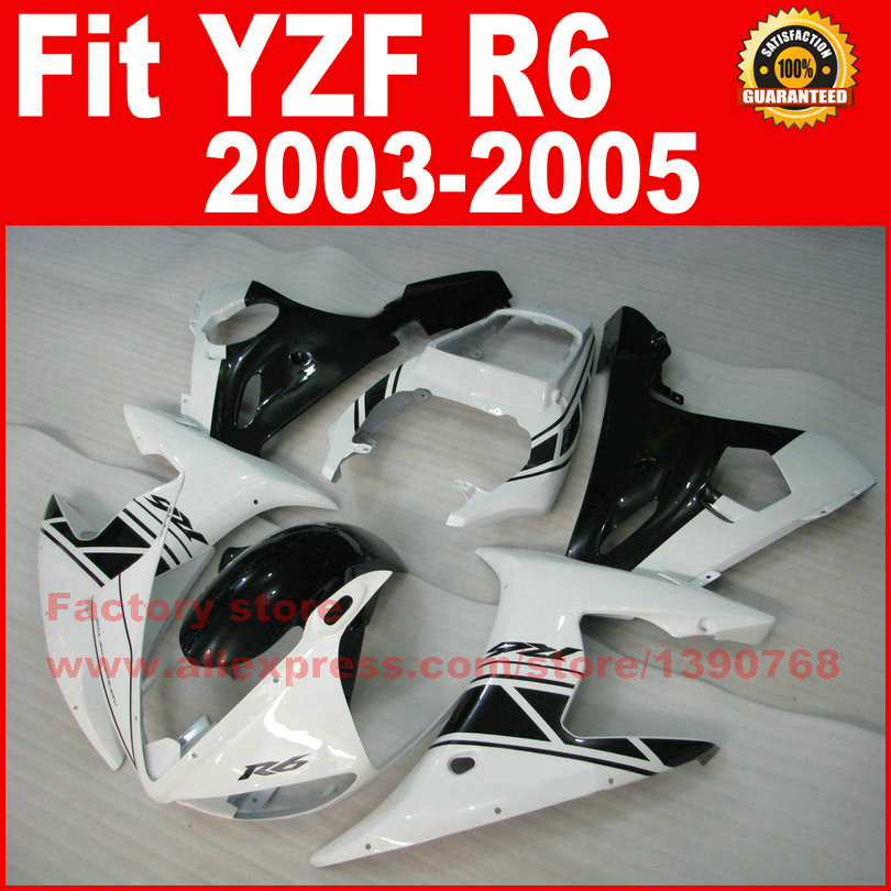 Motorcycle parts for YAMAHA R6 2003 2004 2005 fairing kits black white YZF R6 fairing kit 03 04 05 7 gifts motorcycle front brake discs rotor for yamaha yzf r6 2003 2004 2005 yzf r1 03 04 05 gold