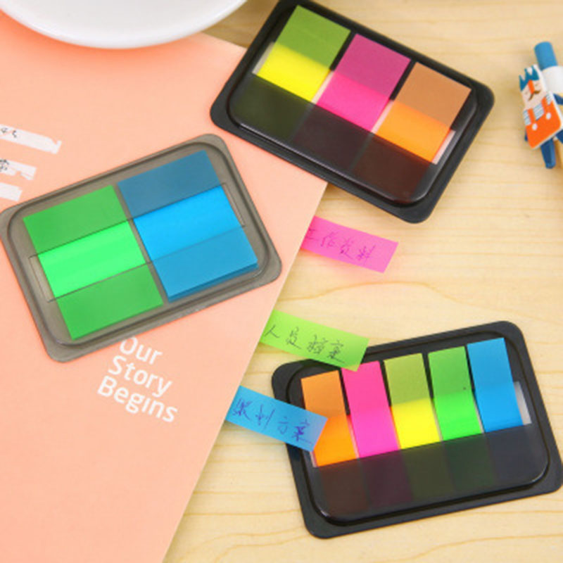 3 Size Fluorescence Color Note Pad PET Book Mark Sticky Note Office Home School Post It Memo Pad Color Label Paste Self Sticker