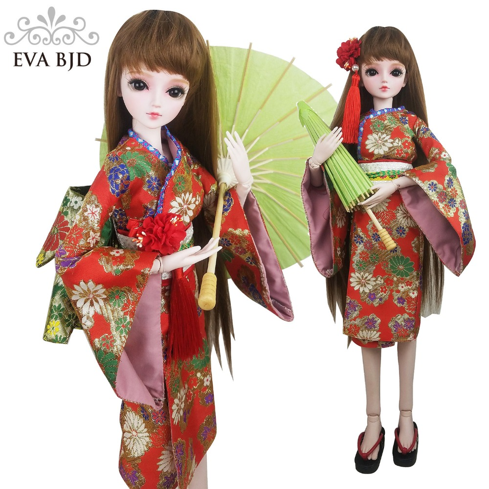 22 BJD Full Set + 22 EVA BJD Japanese Oriental girl BJD Doll SD Doll 1/3 SD Doll 22 inch + Handmade Makeup + Kimono + Shoes кукла bjd 88 dk 1 3 bjd sd jerome