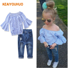 Baby Girls Clothing Set kid fashion jeans pants+Dovetail t-shirt Children Clothes Set for girl Kids Outfits Clothes 2-7 Years