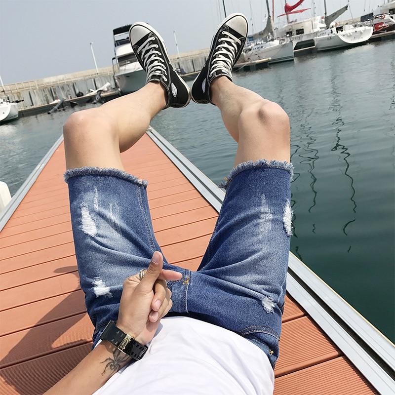2018 summer new student jeans jeans mens Korean mens jeans mens fashion shorts